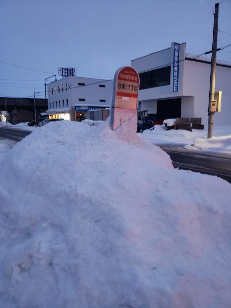 バス停に雪山